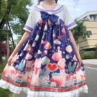 Printed Sailor Collar Short-sleeve A-line Dress