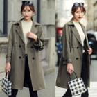 Tie-beck Double-breasted Trench Coat