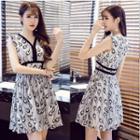 Printed V-neck Sleeveless A-line Dress