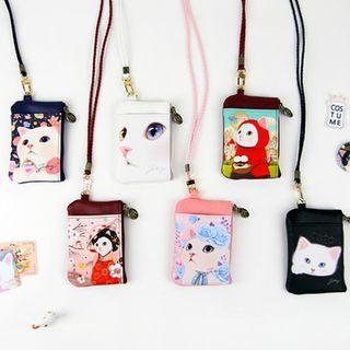 Choo Choo Cat Series Coin Purse With Neck Strap