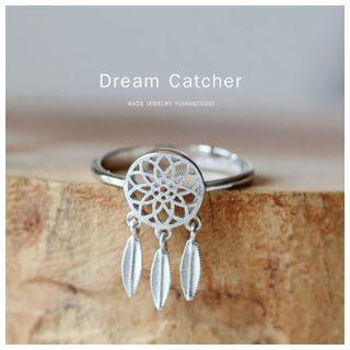 Sterling Silver Feather Dangle Ring