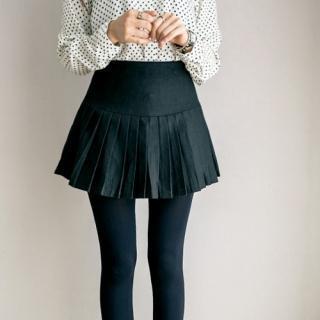 Pleated A-line Mini Skirt