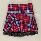 Lace Trim Plaid Pleated Skirt