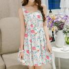 Sleeveless Bowed Printed Dress