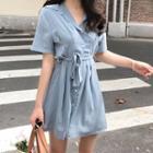 Short-sleeve Pinstriped Shirtdress With Sash