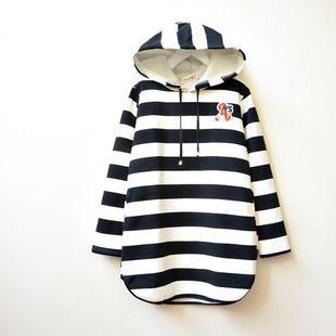 Striped Hooded Pullover Dress