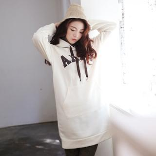 Lettering Hooded Pullover Dress