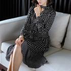 Ruffle Hem Dotted Long-sleeve A-line Dress