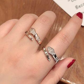 Rhinestone Geometric Ring