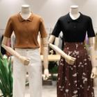 Plain Short Sleeve Knit Polo Shirt