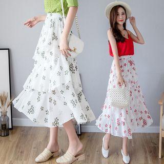 Clover Leaf Print Layered Chiffon A-line Skirt