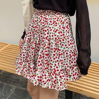 Mini A-line Cherry Print Skirt