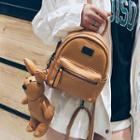 Faux Leather Backpack With Rabbit Charm