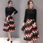 Set : Long-sleeve Top + Patterned Skirt