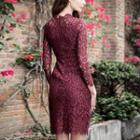 3/4-sleeve Embroidered Lace Mini Evening Dress