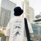 Fish Printed Elbow-sleeve T-shirt