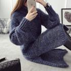 Turtleneck Chunky Knit Dress