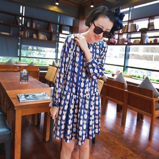 Patterned Long-sleeve Chiffon Dress