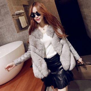 Furry Trim Faux Fur Jacket