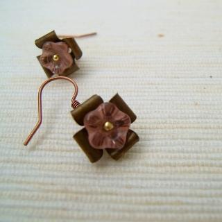 Copper Glass Flowers Earrings(pink) Gold - One Size