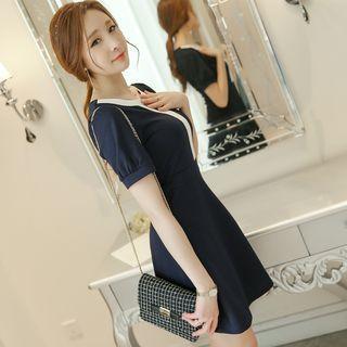 Contrast Trim Short Sleeve A-line Dress