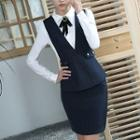 Set: Pinstriped Vest + Pencil Skirt / Dress Pants