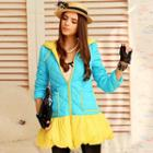 Contrast-color Ruffle Padded Coat
