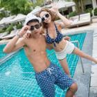 Couple Matching Set: Dotted Bikini + Shorts + Top / Beach Shorts
