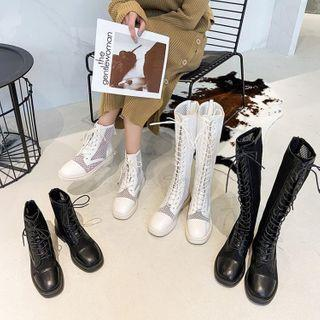 Lace Up Mesh Panel Boots