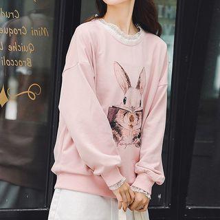 Lace Trim Rabbit Print Pullover