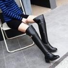 Low Heel Belted Over-the-knee Boots