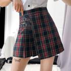 Buckled-accent Plaid Mini Skirt
