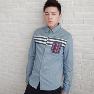 Pocket-front Striped Shirt