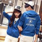 Hooded Lettering Couple Jacket