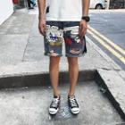 Ripped Printed Denim Shorts