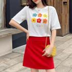 Short-sleeve Flower Print T-shirt / Plain A-line Mini Skirt