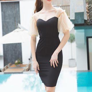 Puff-sleeve Color-block Sheath Dress