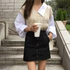 Inset Shirt Balloon-sleeve Cable-knit Top Beige - One Size