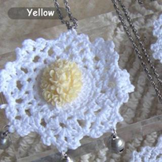 Yellow Vintage Flower Lace Necklace