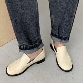 Round-toe Pleather Loafers