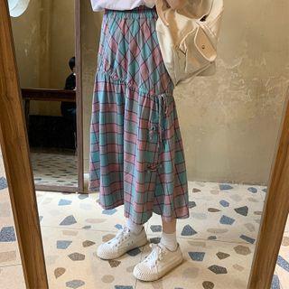 Slit Gingham A-line Midi Skirt Green - One Size