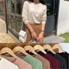 Round-neck Colored Ribbed T-shirt