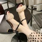 Ruffled Mesh High Heel Sandals