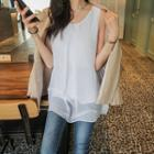 Chiffon-overlay Sleeveless Top
