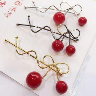 Cherry Ribbon Hair Pin
