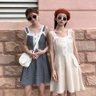 Sleeveless Lace-trim Check Dress