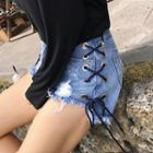 Lace-up Distressed Denim Shorts