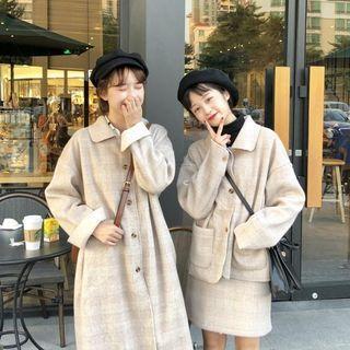 Plaid Single-breasted Coat / Set: Jacket + A-line Skirt