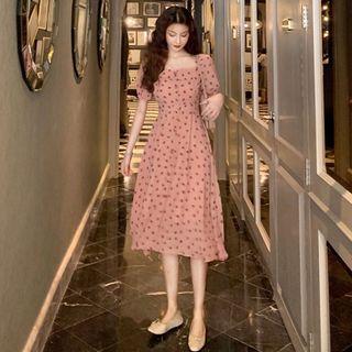 Dotted Puff-sleeve Chiffon Slim-fit A-line Dress Pink - Dress - One Size