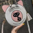 Faux Leather Cat Round Crossbody Bag